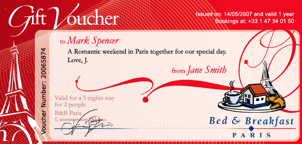 Bed and Breakfast Paris the first Parisian Bed Breakfast network – Sample Gift Vouchers